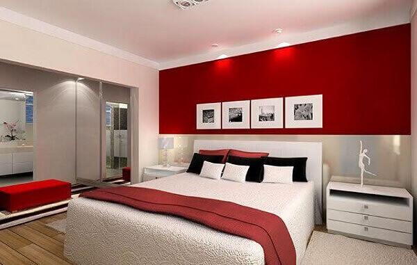 Modelos de quartos de casal cinza e vermelho