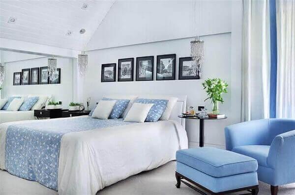 Modelos de quartos de casal em azul claro