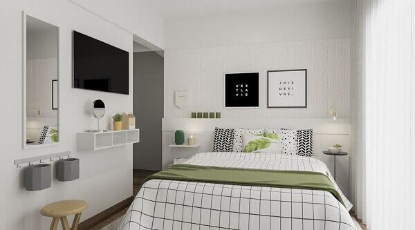 Modelos de quartos pequenos e funcionais