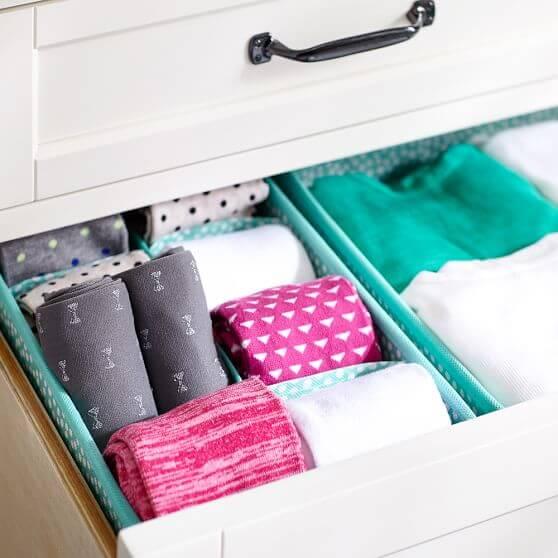Organizador de gavetas com meias