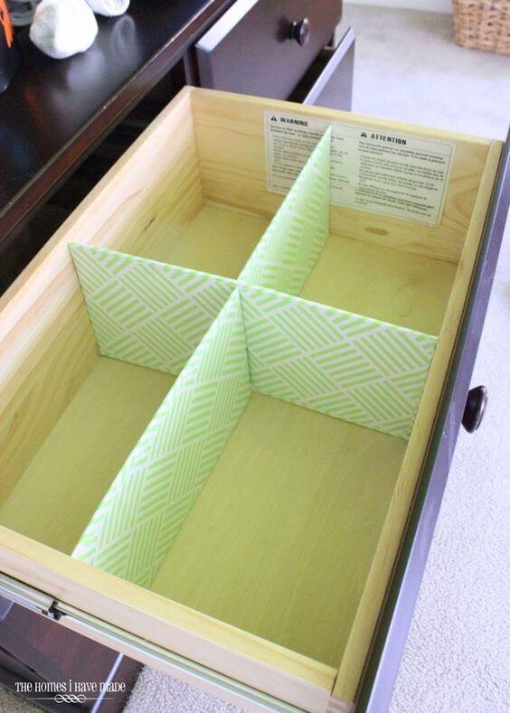 Organizador de gavetas de papelão com estampa