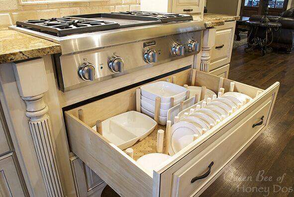 Organizador de gavetas na cozinha