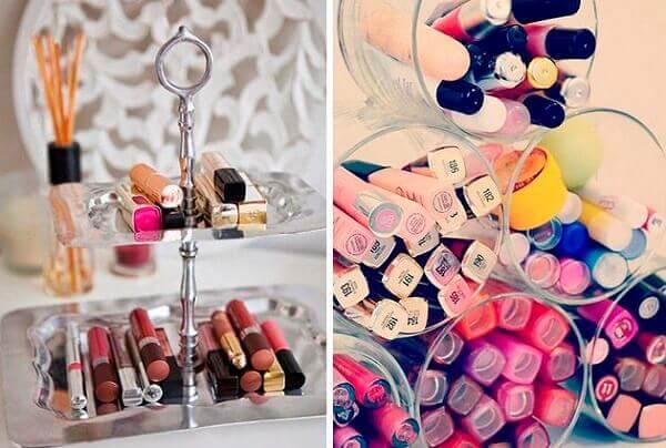 Organizador de maquiagem com produtos