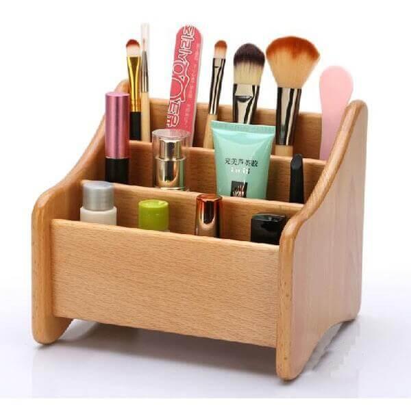 Organizador de maquiagem em caixinha de mdf