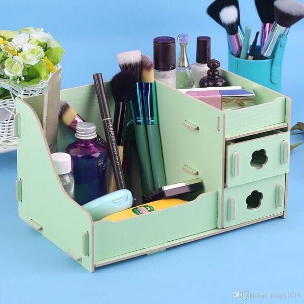 Organizador de maquiagem em caixinha mdf