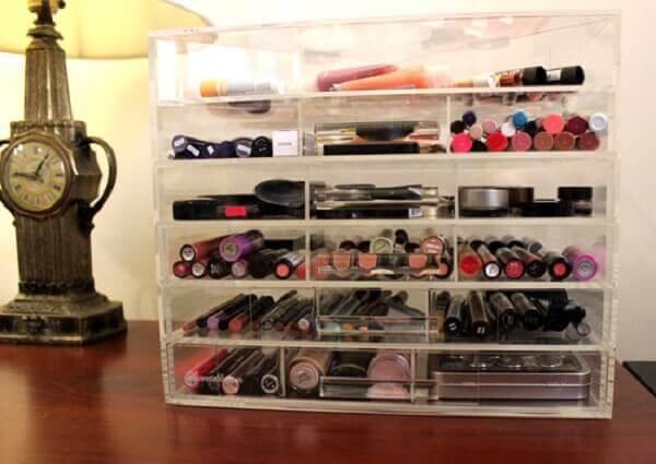 Organizador de maquiagem grande com gavetas