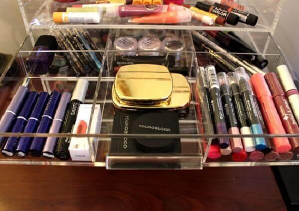 Organizador de maquiagem grande transparente