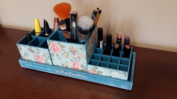 Organizador de maquiagem mdf azul