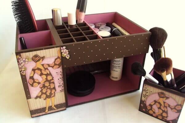 Organizador de maquiagem mdf