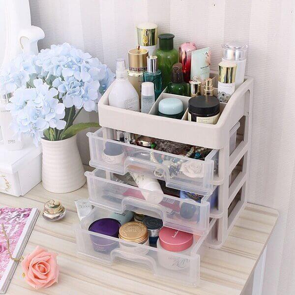 Organizador de maquiagem para banheiro