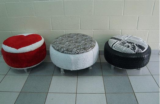 Puff de pneus baixo com estampas diferented Foto de Pinterest