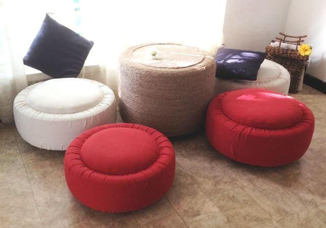 Puff de pneus vermelho e branco Foto de Instructables