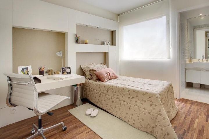 Quarto de solteiro com cama box de solteiro Projeto de Sesso e Dalanezi