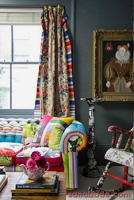 Sofá e almofada de patchwork Foto de Sanalzade