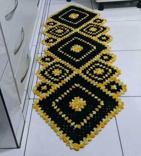 Tapete de crochê para cozinha amarelo e preto Foto de Pinterest