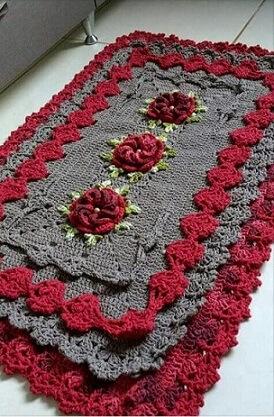 Tapete de crochê para cozinha cinza e vermelho Foto de Pinterest