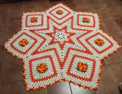 Tapete de crochê para cozinha com formato de estrela laranja