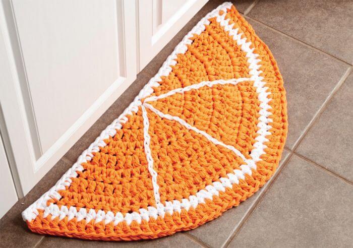 Tapete de crochê para cozinha em formato de laranja Foto de Mary Maxim