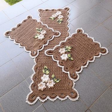 Tapete de crochê para cozinha - jogo de tapetes marrons
