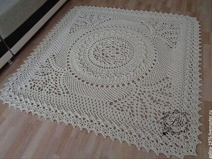 Tapete de crochê para cozinha quadrado