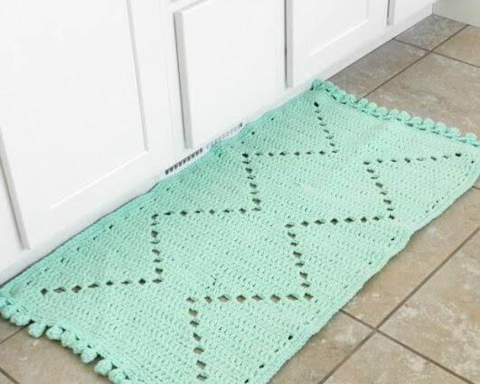 Tapete de crochê para cozinha verde menta Foto de Fave Crafts