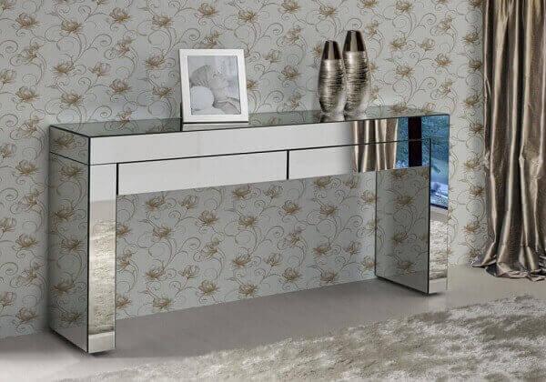 aparador espelhado com duas gavetas