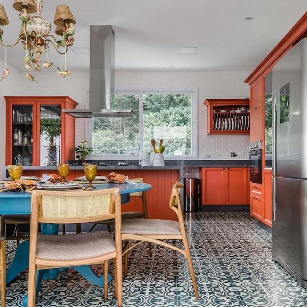 azulejo hidráulico para cozinha retrô