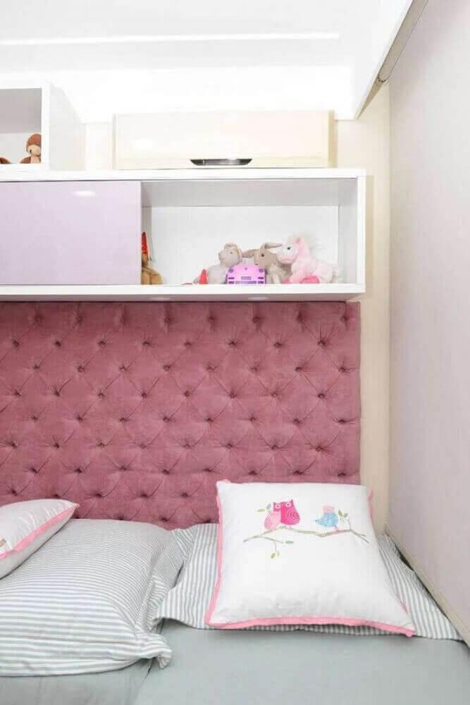 cabeceira capitonê solteiro rosa para decoração de quarto de menina- Foto Home Decoo