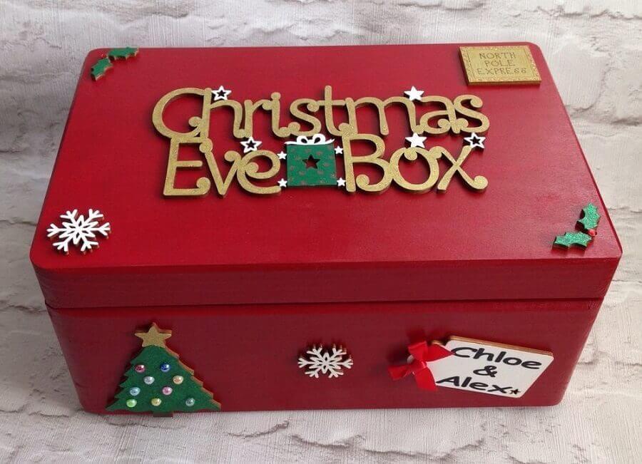 caixa de madeira decorada com tema natalino Foto Pinterest