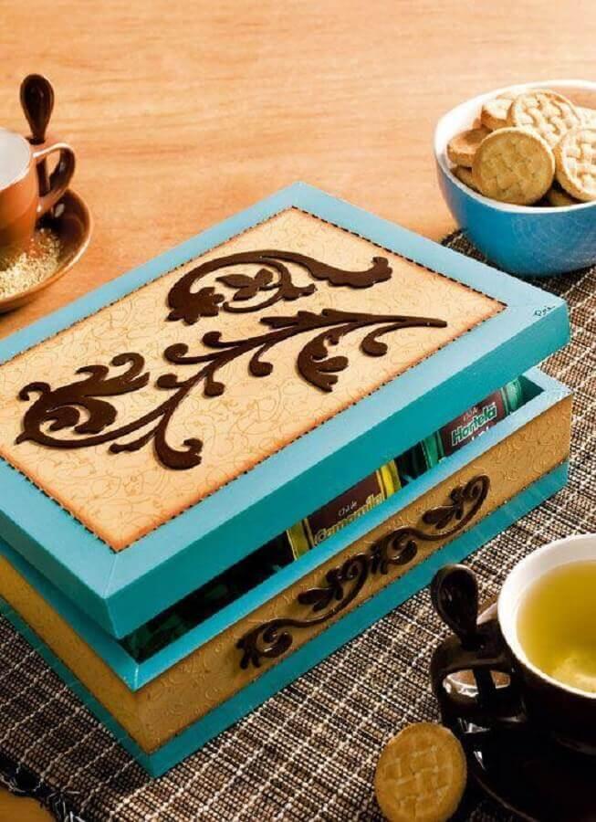 caixa de madeira decorada para cozinha Foto Home Decoo