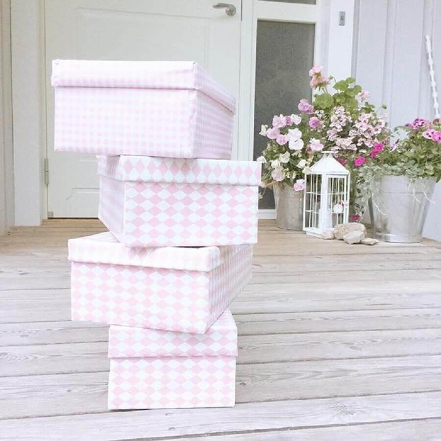 caixas decoradas para embrulho de presente Foto Pinterest