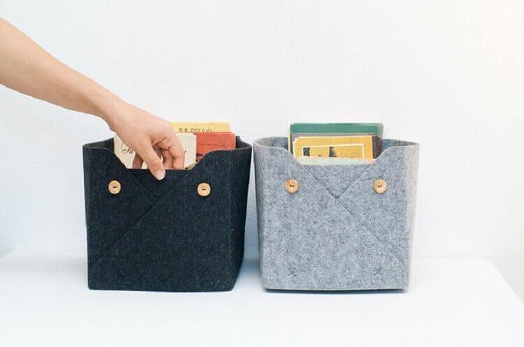 caixas organizadoras de artesanato em feltro