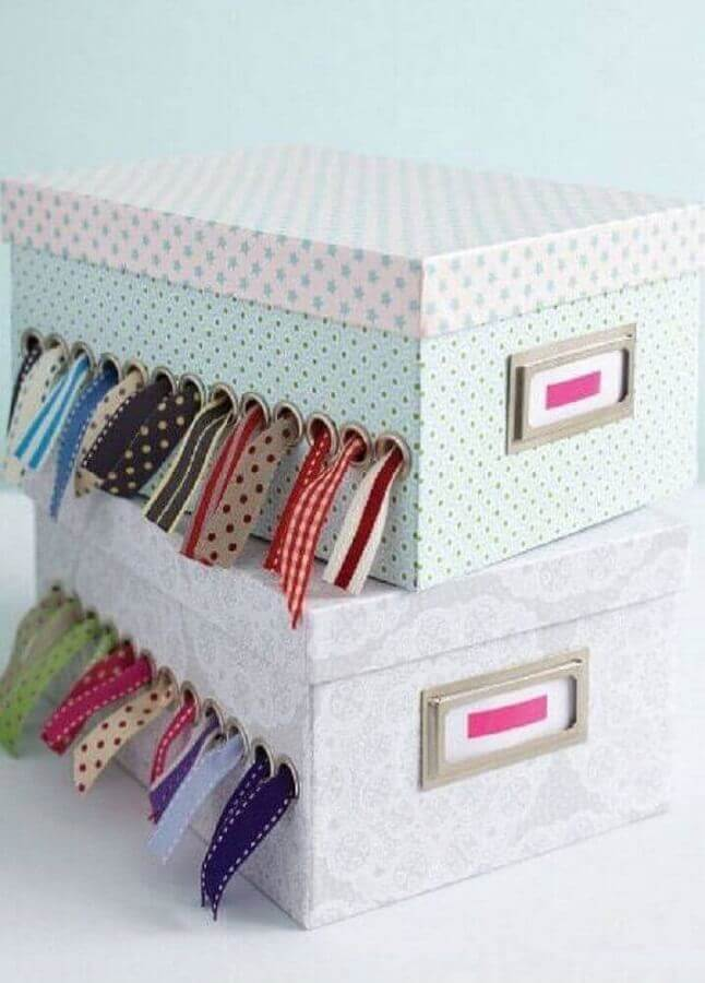 caixinha de costura feita com caixa de sapato decorada Foto Wood Save
