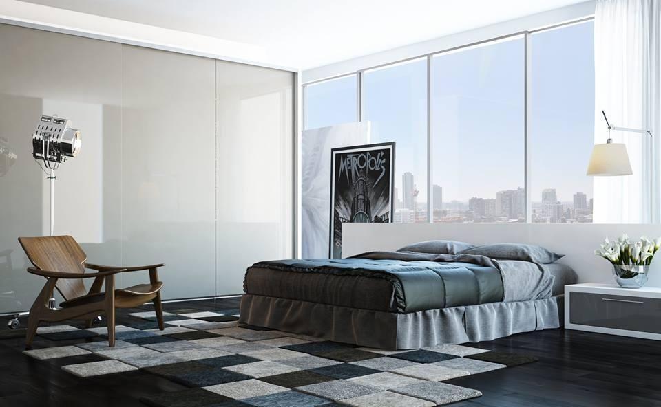 cama box - Quarto de casal com cama box e poltrona de madeira