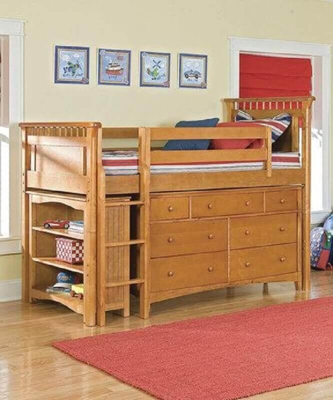 cama suspensa com armário embaixo