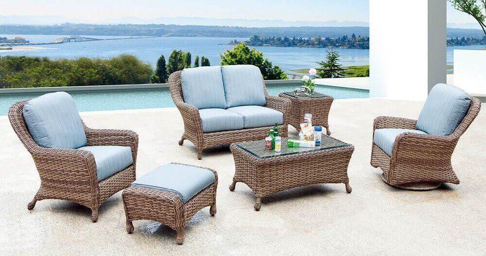 conjunto de móveis de vime com poltrona sofá e mesa de centro Foto Palm Casual