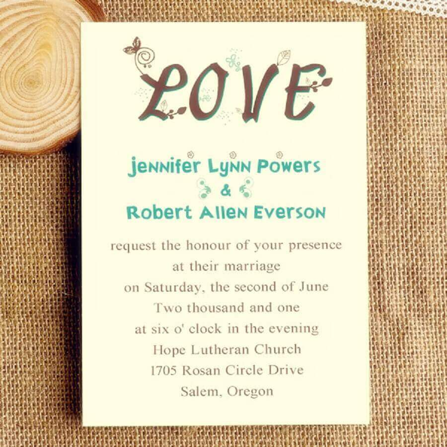 convite de casamento simples e divertido