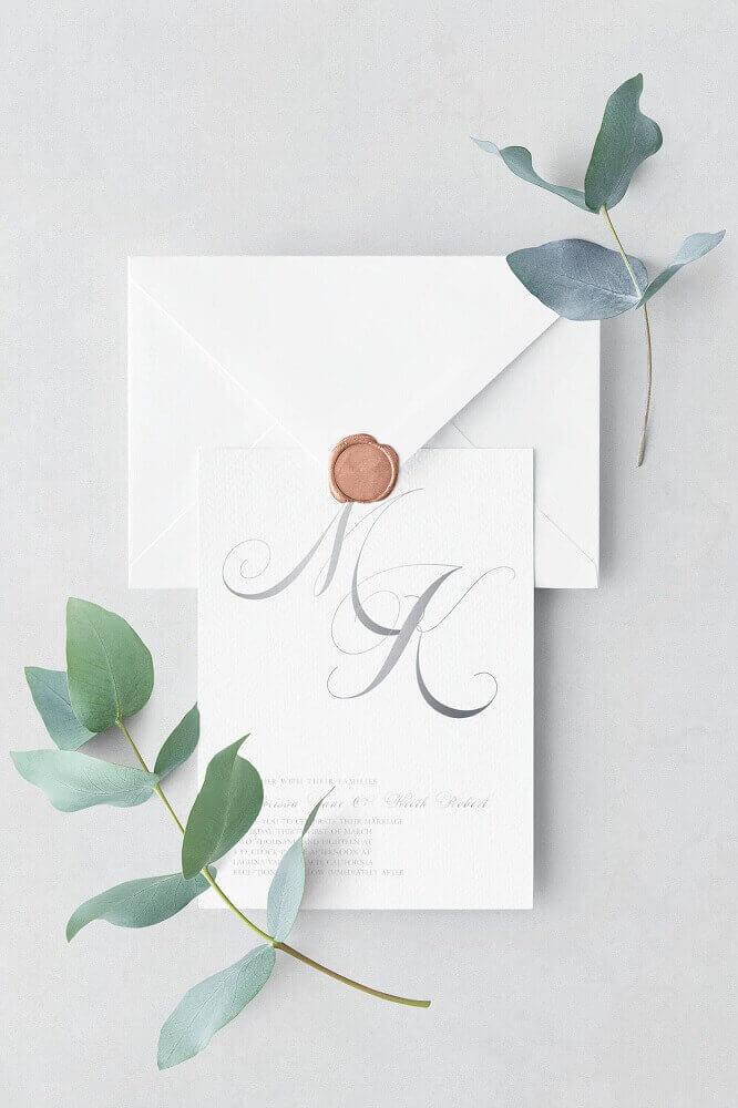 convite de casamento simples e minimalista