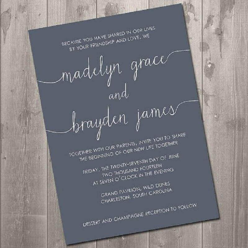 convite de casamento simples e moderno feito em papel preto