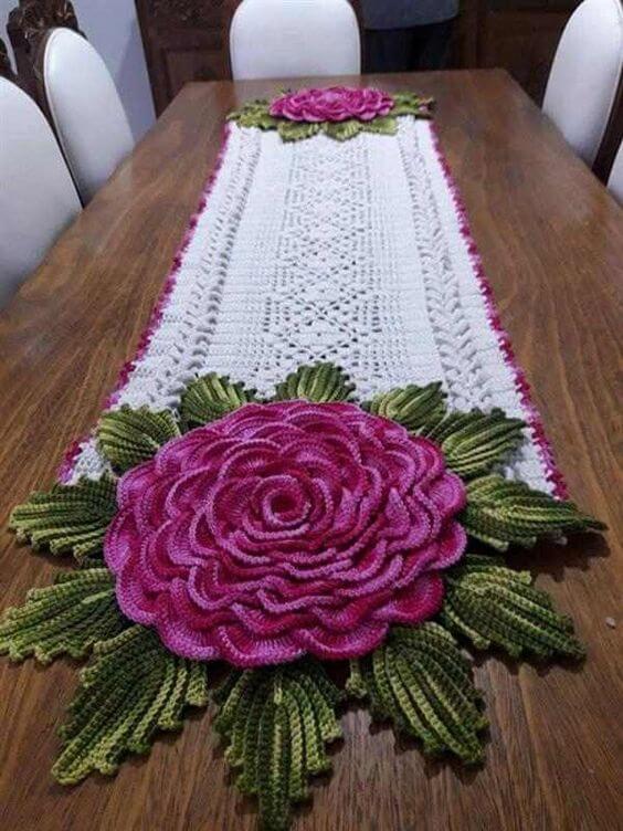 crochê - caminho de mesa de crochê de flor