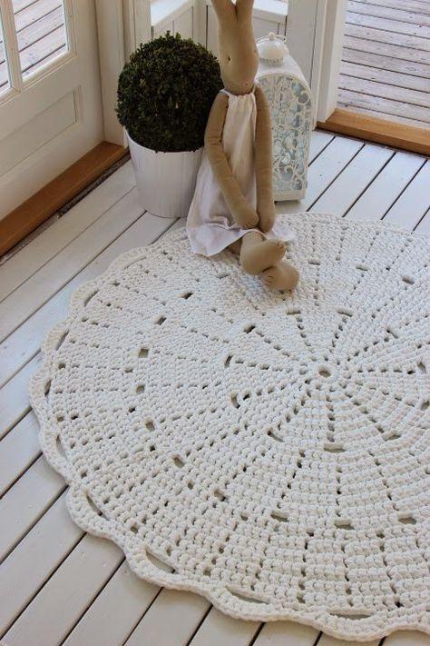 crochê - tapete de crochê circular simples