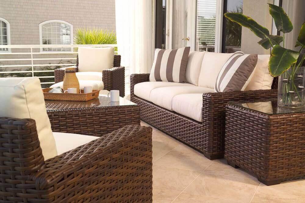 decoração clean com móveis para varanda gourmet Foto Commercial Furniture USA
