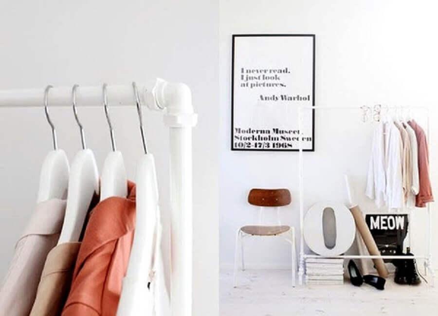 decoração clean e minimalista com arara de cano PVC
