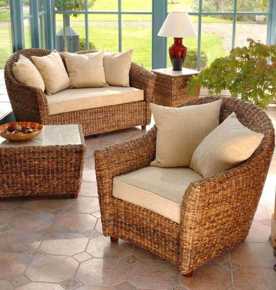decoração com abajur e móveis de vime para varanda Foto Good Works Furniture