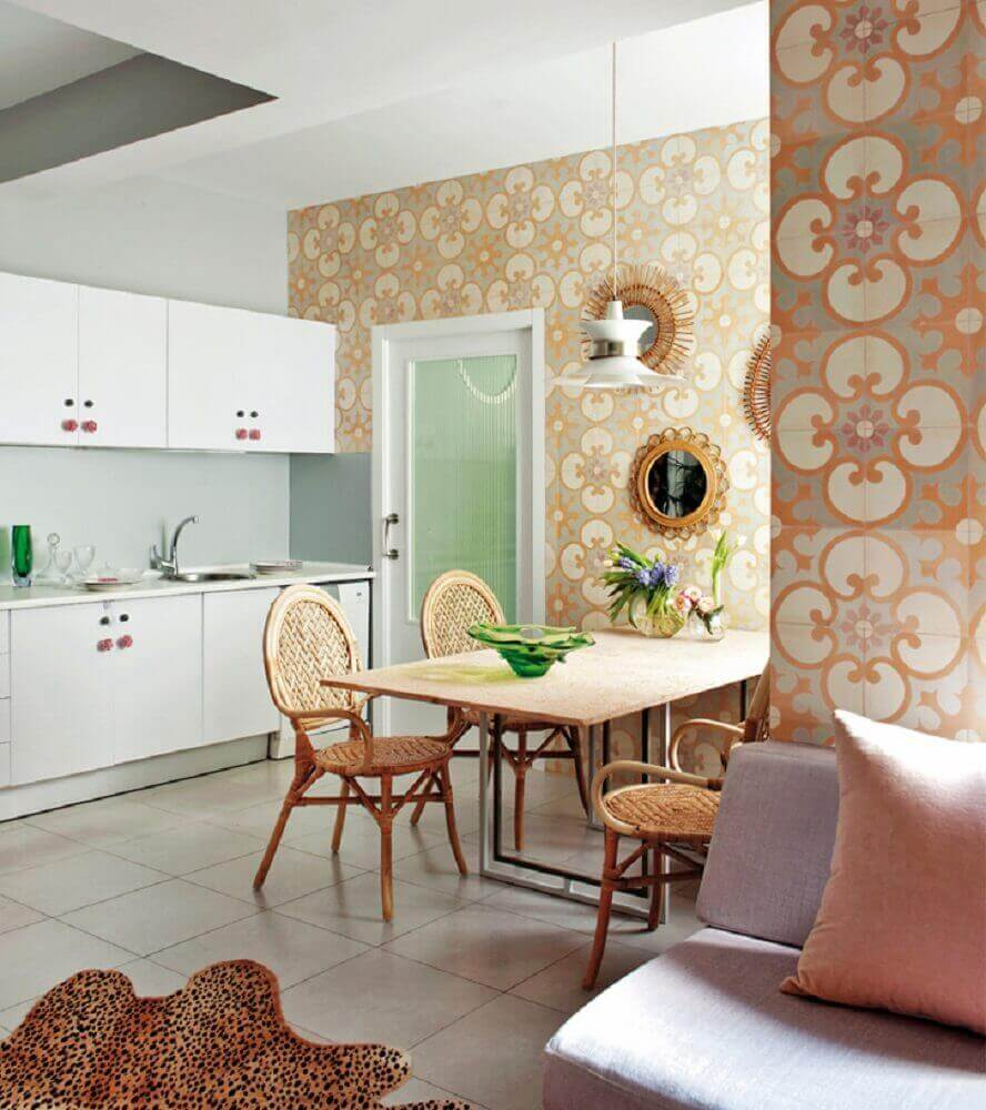 decoração com móveis de vime para cozinha Foto Carnet Déco