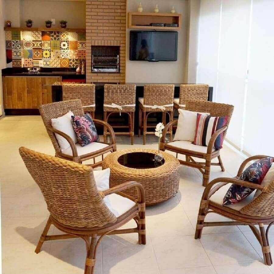 decoração com móveis de vime para varanda gourmet Foto Jaqueline Salvador