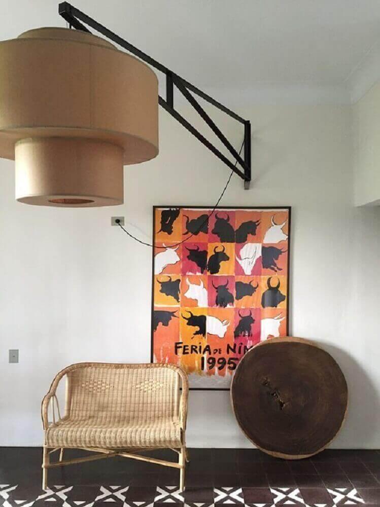 decoração com poltrona de vime Foto Pinterest