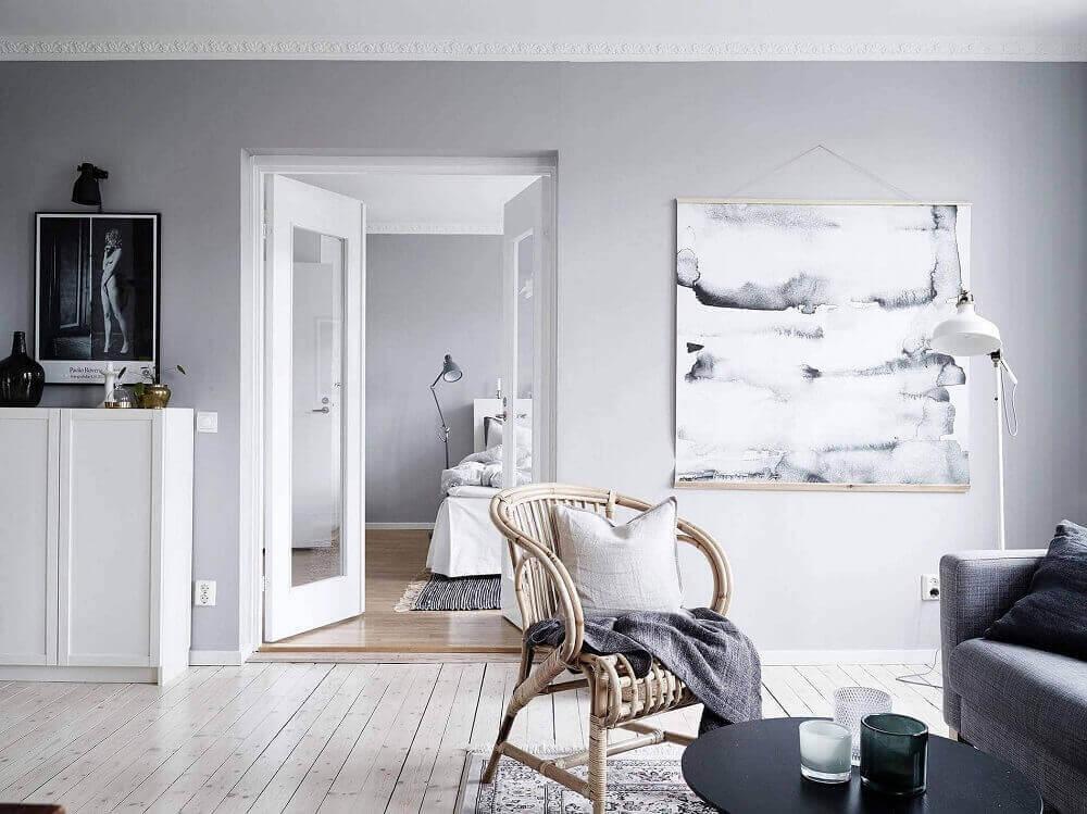 decoração escandinava com móveis de vime para sala de estar Foto Home Decor & Renovation Ideas