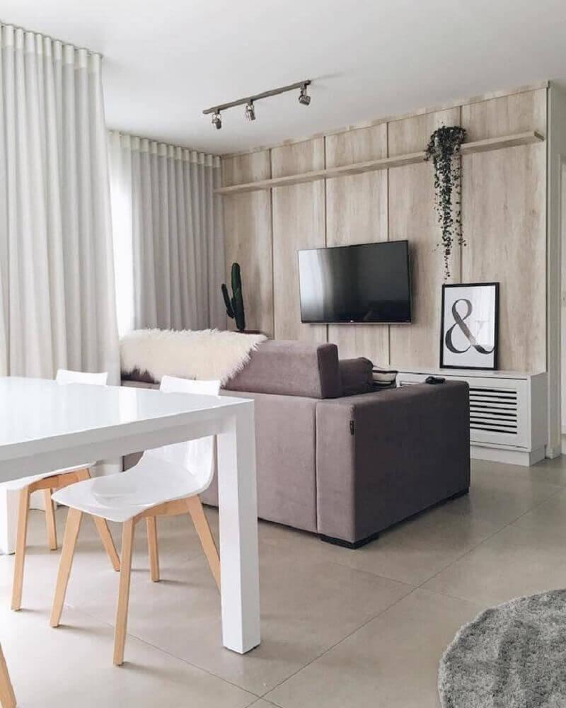 decoração hygge para casa com revestimento de madeira e cactos Foto Apartamento 84