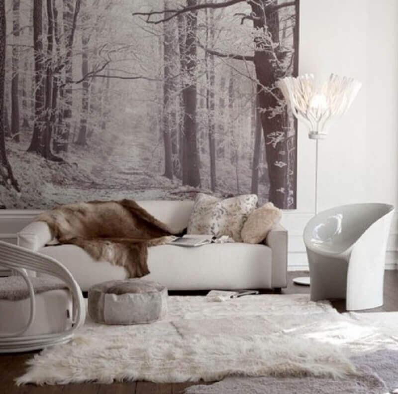 decoração hygge para sala de estar toda branca com painel atrás do sofá Foto Pinterest